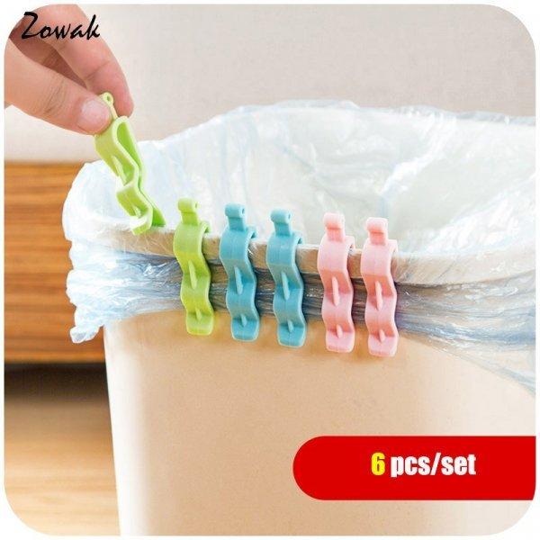 Держатель для пакета мусорного ведра Zowak (6 шт, пластик, 6.3*1.3 см)