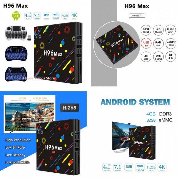 Смарт тв приставка H96 MAX H1 Android 7,1