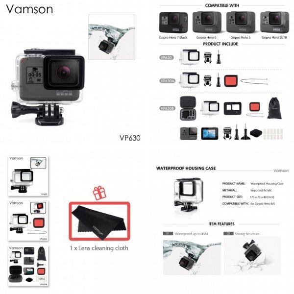 Водонепроницаемый чехол Vamson для GoPro Hero 6 5