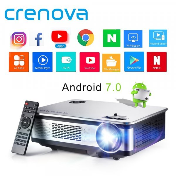 Отличный проектор CRENOVA (Android 7,0 WI-FI Bluetooth Full HD 4 К )