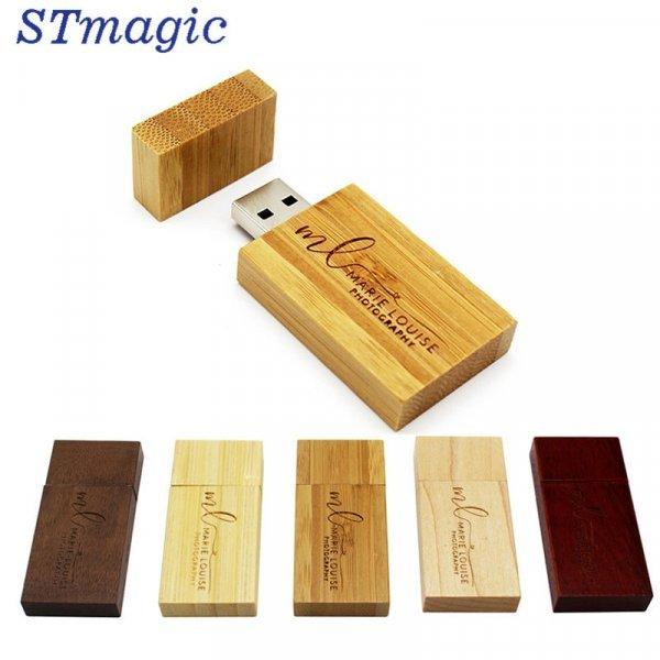 Накопитель в деревянном корпусе с гравировкой на заказ от STMAGIC (USB 2.0, до 64 Гб)
