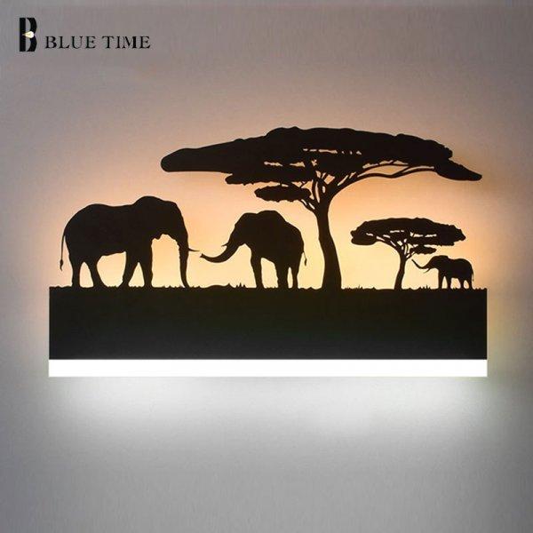 Необычный настенный светильник Джунгли BLUE TIME (38 см, 12 В, 4 варианта)