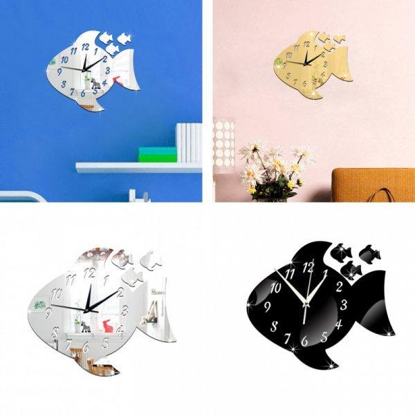 Зеркальные часы в детскую Рыбка (3 цвета)