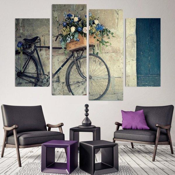Винтажная картина Велосипед для гостиной (4 части, 30*60*2 см и 30*80*2 см)
