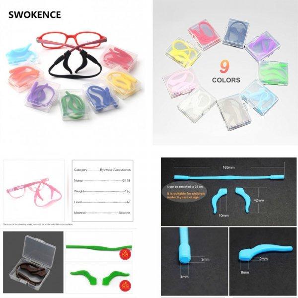 Яркий Фиксатор для очков с резинкой SWOKENCE (9 цветов, резинка + фиксатор)