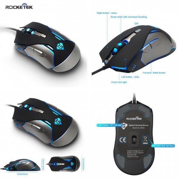 Скоростная USB Мышь Rocketek 2400 Точек