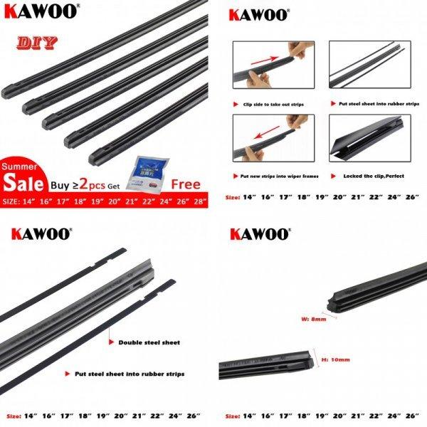 Резинки для щеток стеклоочистителя авто KAWOO (350-700 мм)