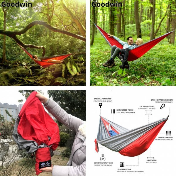 Походный гамак для сна на природе (2 чел, 24 цвета, 260*140 см, 300*200 см, 300 кг)