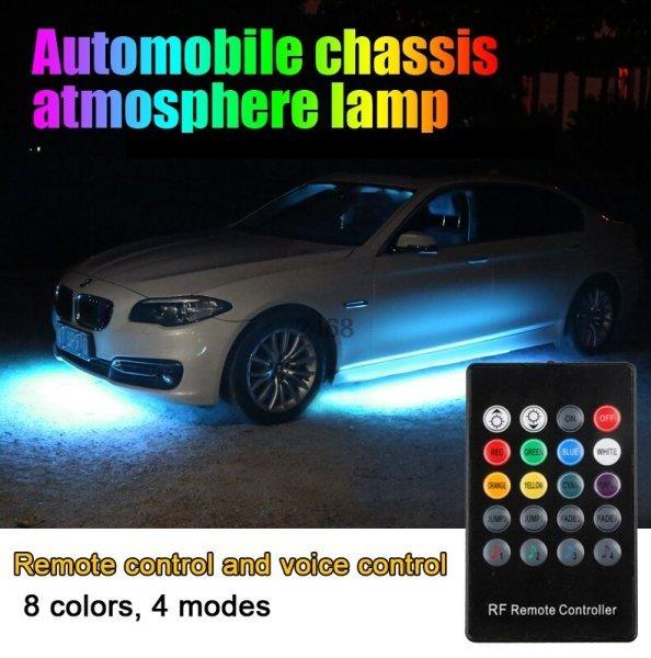 Влагозащитная неоновая лента для подсветки днища авто Scar (4 шт, пульт, контроллер)