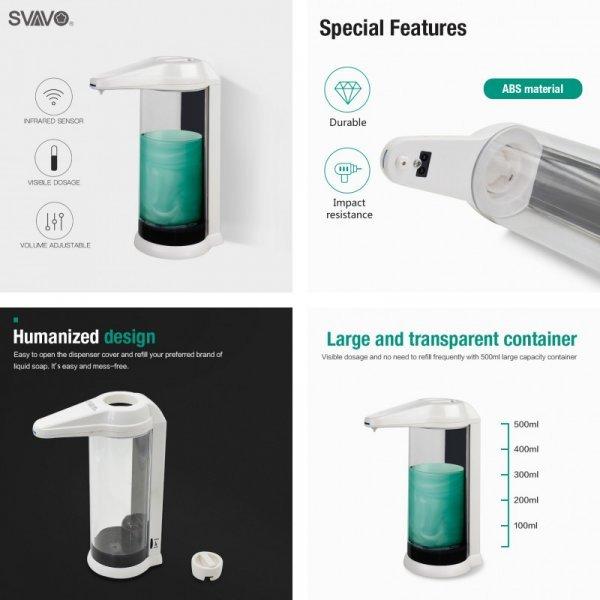 Автоматический дозатор для жидкого мыла Svavo с сенсором (3 цвета, 500 мл)
