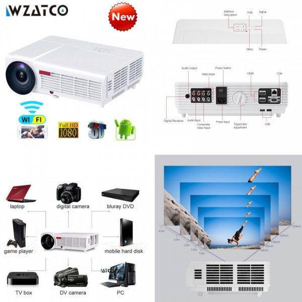 Мощный проектор WZATCO (96 Вт 5500 ЛМ, Android Smart Wi-Fi 1080 P Full HD)