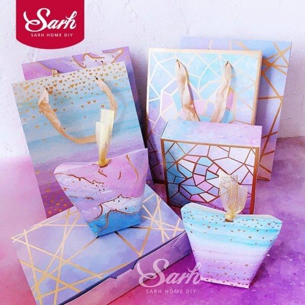 Романтическая упаковка для подарка (10 шт, 4 цвета, 12*6*10 см и 13.5*13.5*5 см)