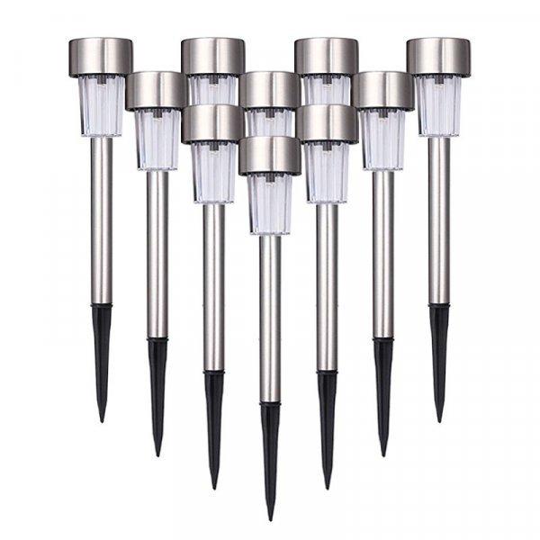 Комплект газонных LED светильников RUOCLN 6 В (10 шт, зарядка от солнца)