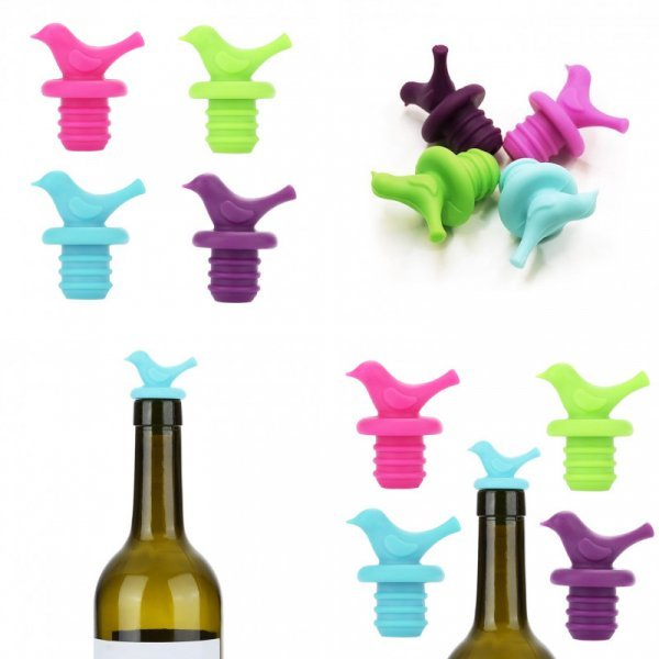 Пробка для вина Птичка (4 цвета)