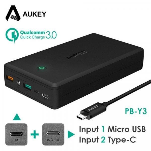 Супер мощный повербанк AUKEY Quick Charge 3,0 (30000 мАч, Dual USB)