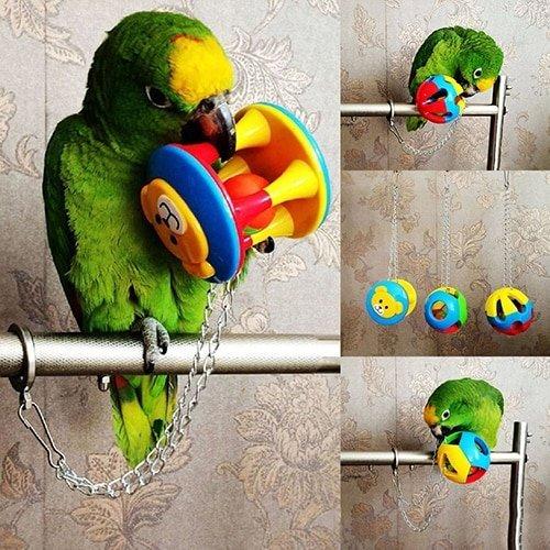 Яркий мячик для попугая