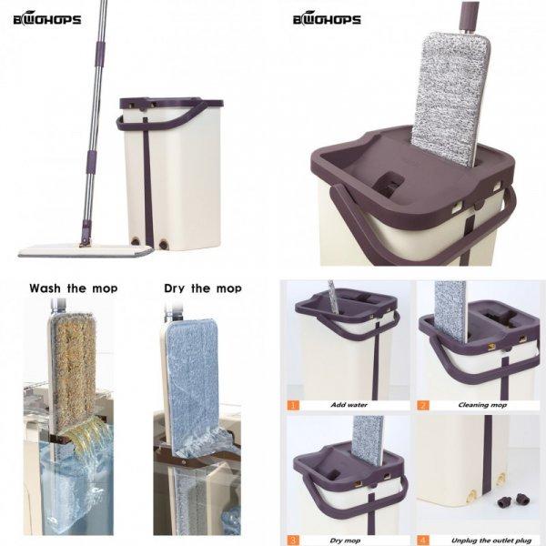Супер набор для мытья полов JBS с отжимом (ведро+швабра+смен. насадки)