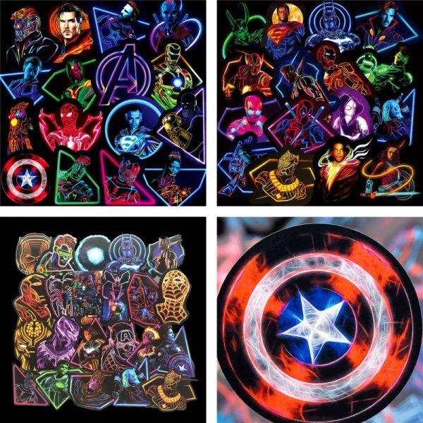 Наклейки в стиле Marvel (125 шт)