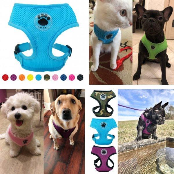 Мягкая шлейка для собак и кошек PAWFECT (5 размеров, 11 цветов)
