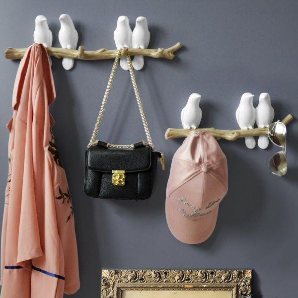 Шикарный держатель на стену Птицы (4 цвета, от 1 до 4 крючков)