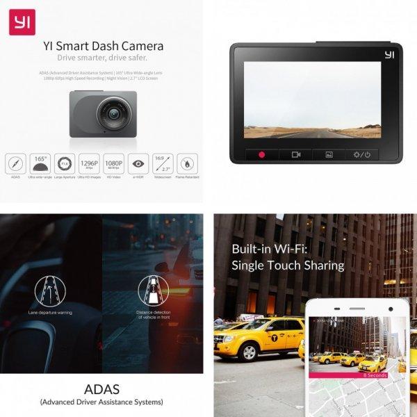 """Автомобильный видеорегистратор YI HD 1080P 2.7"""" 165° 60 к/c"""