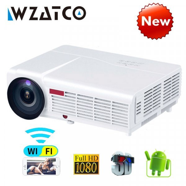 Мощный проектор WZATCO (96 Вт 5500 ЛМ, Android Smart Wi-Fi 1080 P Full HD)