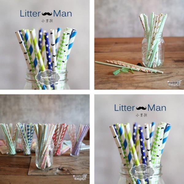 Яркие трубочки для напитков Litter Man (50 шт, 16 цветов)