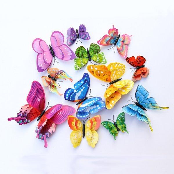 Декоративные стикеры Бабочки (12 шт, 5 цветов)