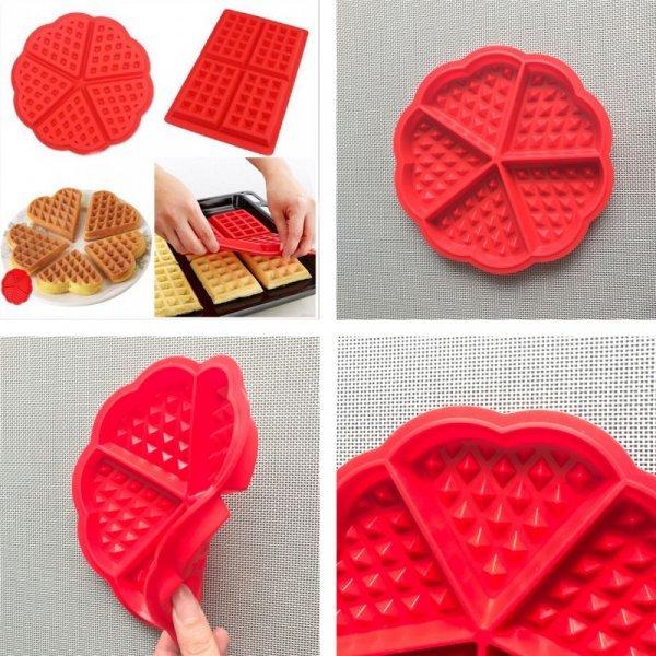 Силиконовая форма для выпечки вафель (2 фигуры , 21.5*18.4*1.5 см, 17.5*1.5 см)