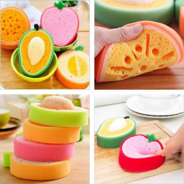 Забавные 3D губки для мытья посуды Фрукты