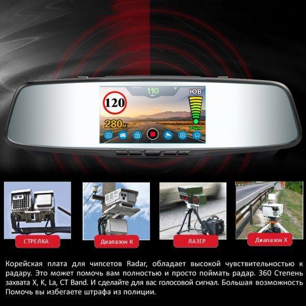 Зеркало заднего вида с радар-детектором Ruccess (3 в 1)