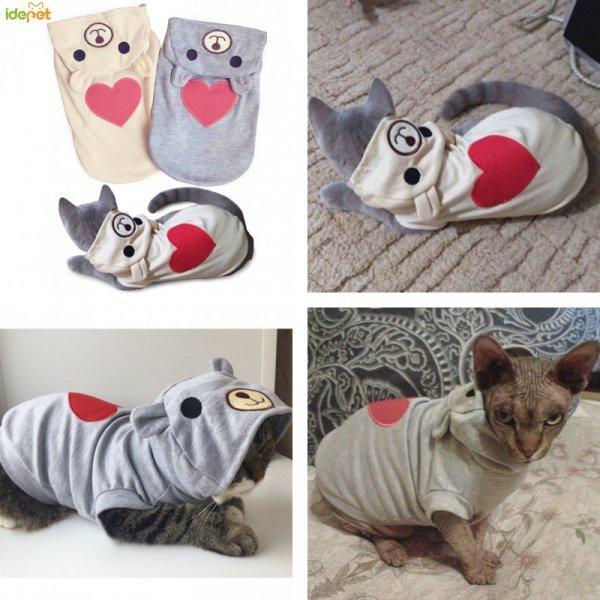 Тонкая кофточка с капюшоном для кошек IDEPET (2 цвета, 5 размеров)