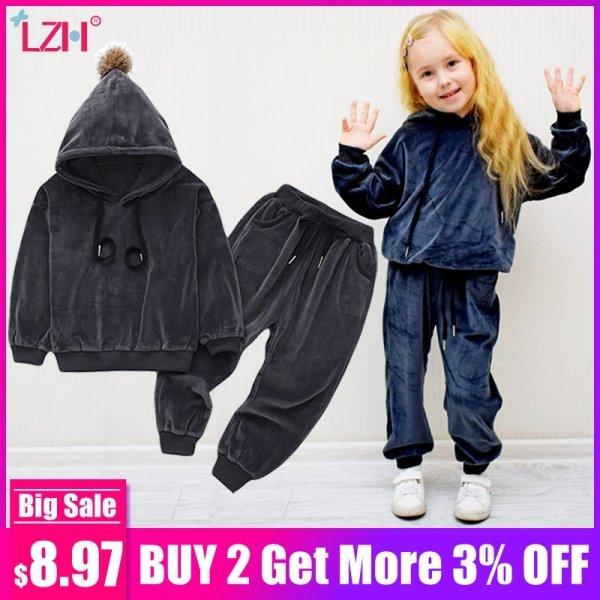 Мягкий велюровый костюм для девочек LZH (3 цвета, 6 размеров)