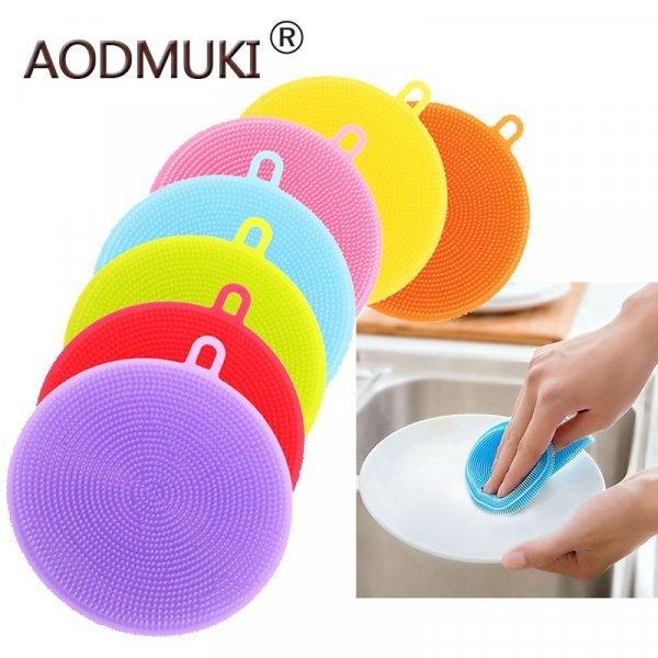 Губка из силикона для посуды AODMUKI