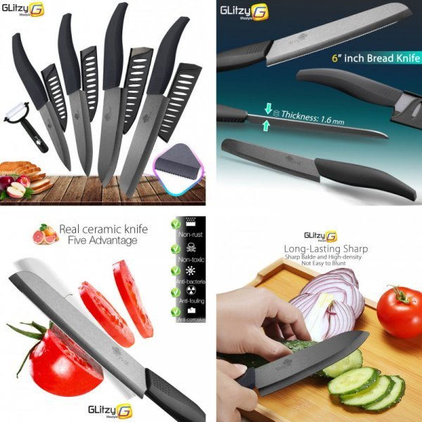 Набор кухонных ножей MYVIT + овощечистка (20 вариантов)