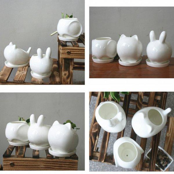 Мини горшок для кактусов Кролик или Кот (10,5*7,8*10,1 см и 8,5*11,5*6 см, блюдце)