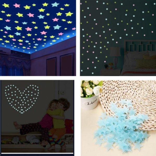 Наклейки Звездное небо 3D для детской (100 шт)
