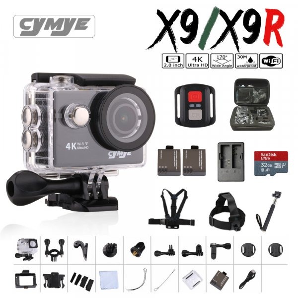 "Супер экшн-камера Cymye  x9/x9r Ultra HD 4 К Wi-Fi 1080 P 60fps 2.0"""