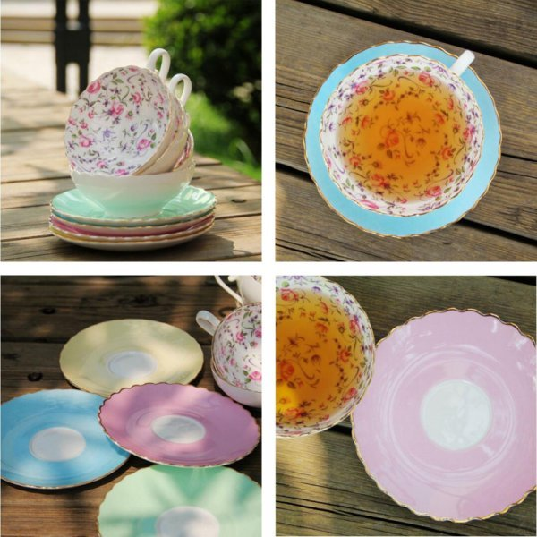 Настоящая фарфоровая чашка с блюдцем WSHYUFEI (4 цвета)