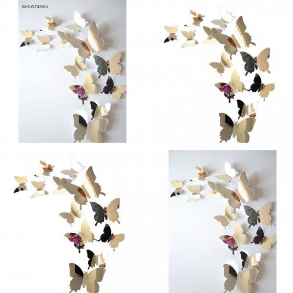 Самоклеящиеся 3D бабочки для детской или гостиной (12 шт, 11 см, 8 см, 6.5 см)
