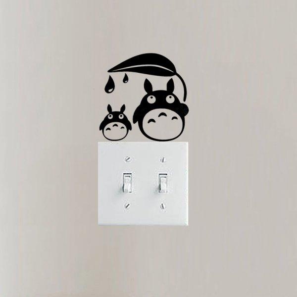 Наклейка на стену с выключателем Листик