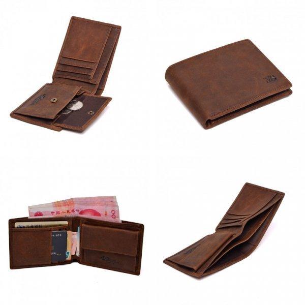 Бумажник из состаренной кожи для мужчин Massimi (2 цвета, 11,5*8,5*2 см)