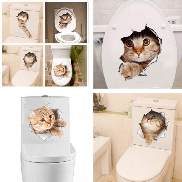 3D Стикеры Кошка для декора в ванной