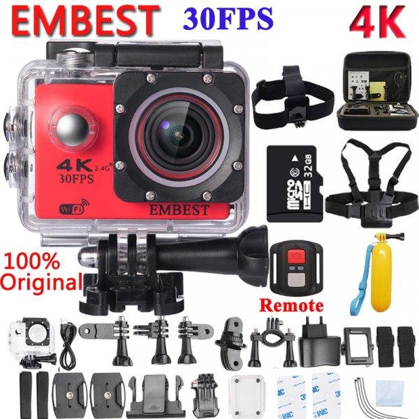 "Экшн-камера Embest 2"" 16mp 170 градусов 4 К WI-FI с крепежами"