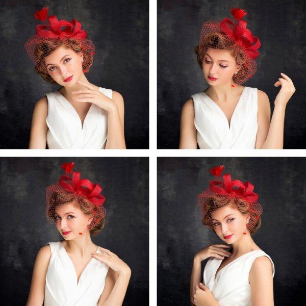 Яркая Свадебная шляпка для невесты