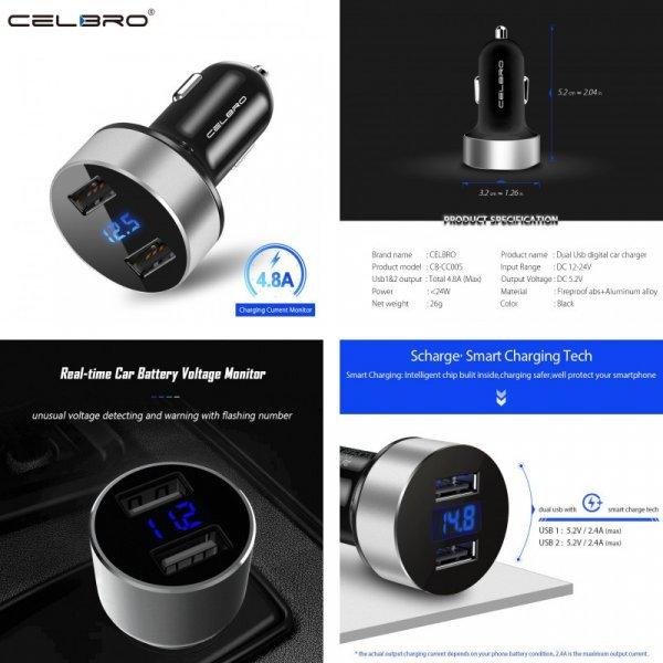 Автомобильная зарядка для телефона с ЖК-дисплеем CELBRO (Dual USB)