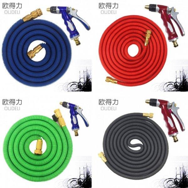 Улучшенный садовый шланг для полива с пистолетом (4 цвета, резина, 4 размера)