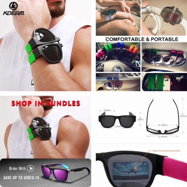 Складные солнцезащитные очки KDEAM (10 цветов)
