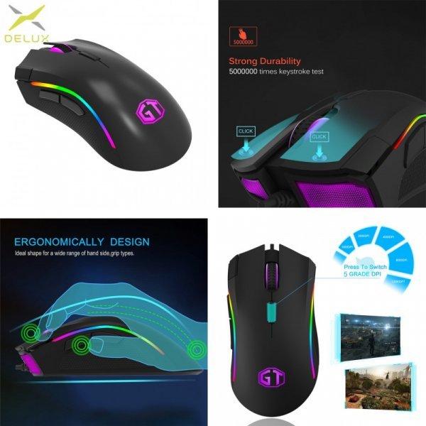 Настоящая геймерская мышь Delux M625 с USB и подсветкой
