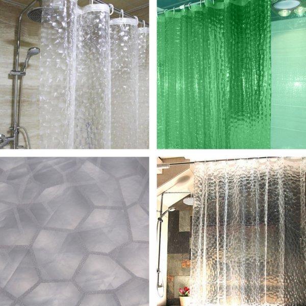 Оригинальная штора для ванной с 3D рисунком VKTECH (2 размера, 3 цвета)